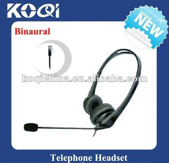 Binaural telephone headset with RJ11 plug