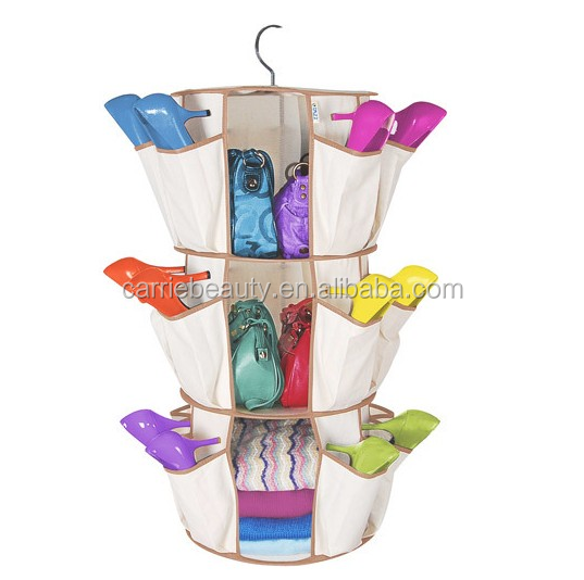 3 Layers Shoes Hanging Storage Bag Saving Place Storage Bag Rotating Storage Bag
