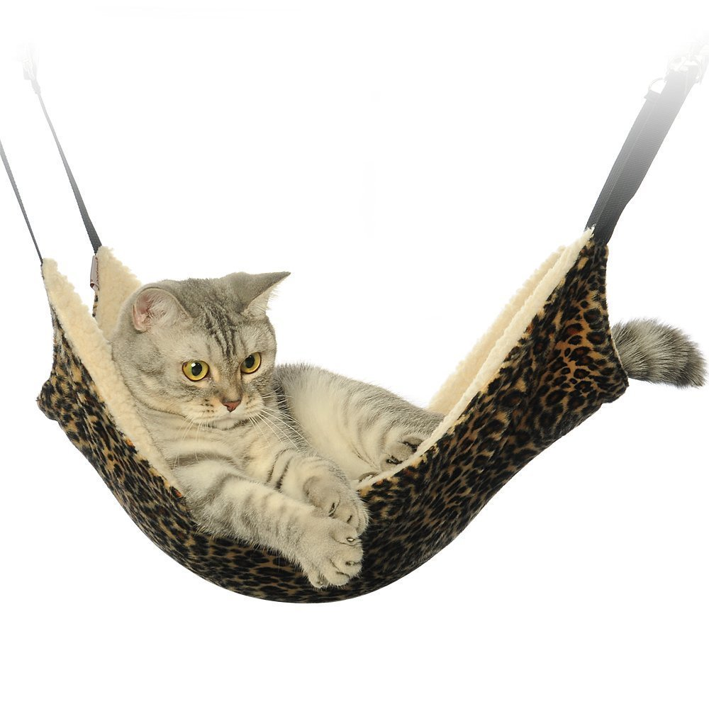 Cat Hammock Bed, Pet Animal Kitty Hanging Bunk Sleepy Bed Use with Crate, Cage or Chair for Kitten, Ferret, Puppy, or Small Pet