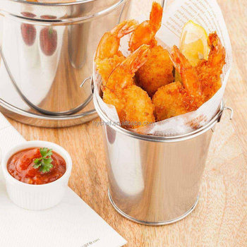 Mini Stainless Steel Pail Table French Fry Serving Bucket Small Chip Storage Tray Bucket Mini Party Ice Bucket Bar Pail