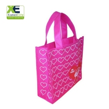 Reusable Fashion Promotion Pink Woman Pretty Folding Woven Shopping Grocery Bag