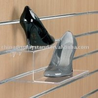 pos lucite slat wall ladys shoes display shoes store stand