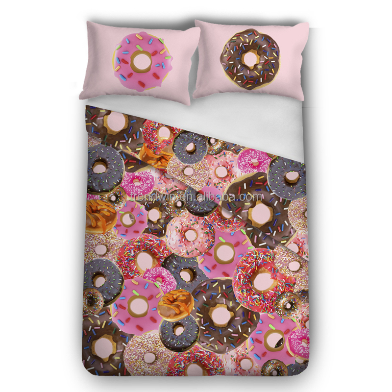 Twin Size Duvet Cover and Pillow Case <strong>Set</strong> 3D Pink Donut Printed Home Bedding <strong>Set</strong>