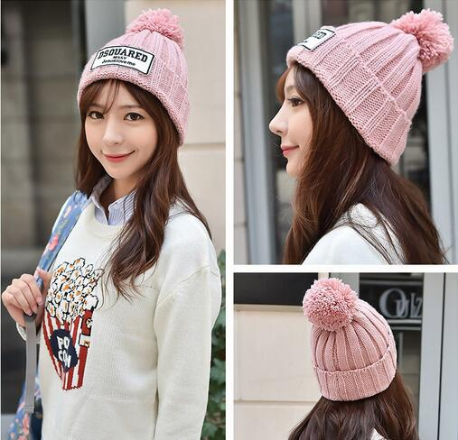 Women Ladies Warm Winter Wool Knit Beanie Fur Pom Bobble Hat Crochet Ski Cap