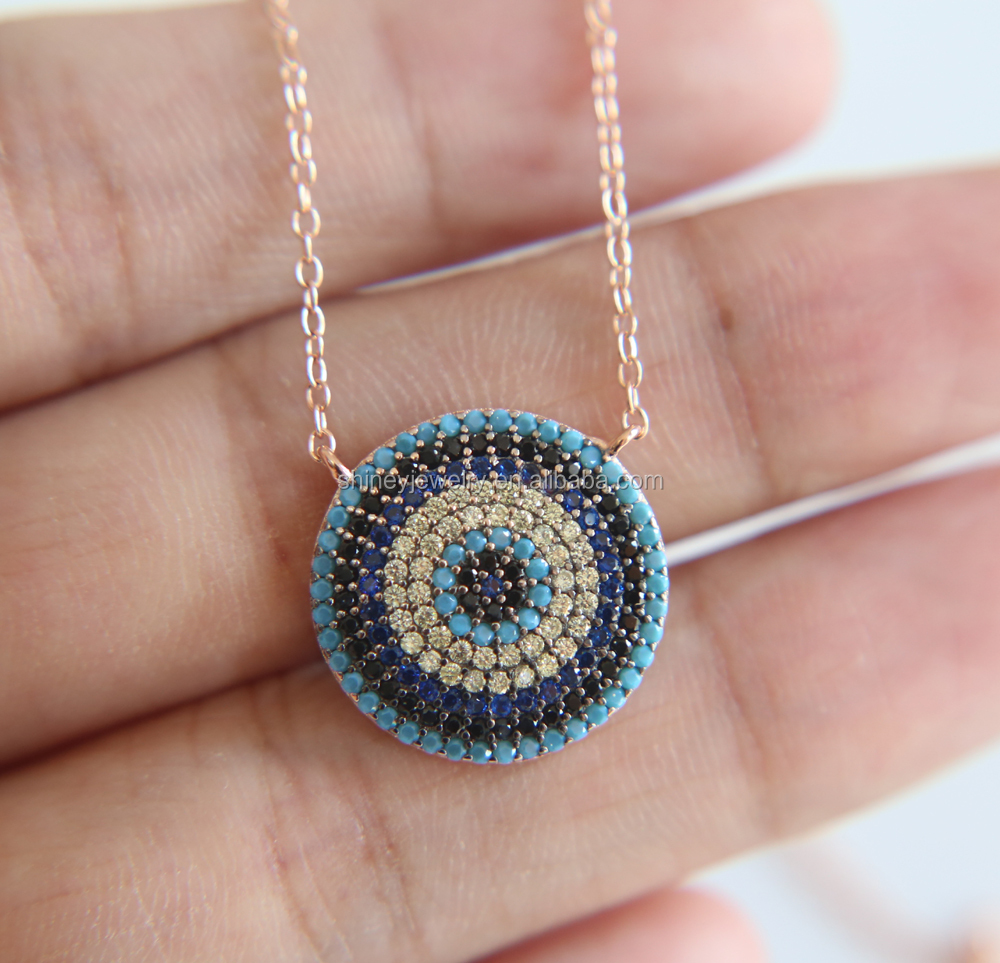2017 high quality rose gold 925 sterling silver micro pave ronnd pendant turquoise colorful fashion statement <strong>necklace</strong>