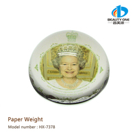 HX-7378 Specific Printing Round 3d Glass Paper Weights