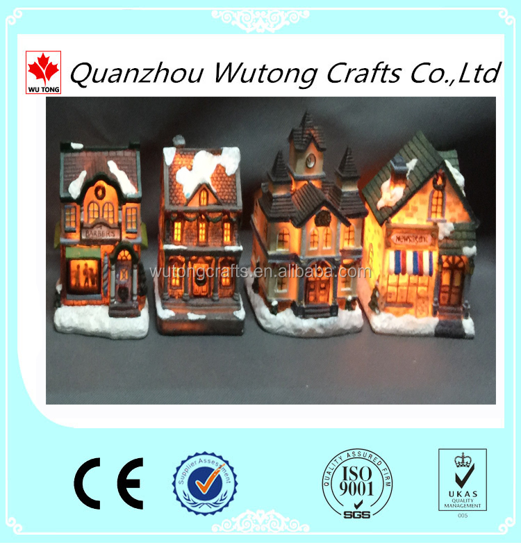 Best Price Resin Material Small House Miniature Christmas Village