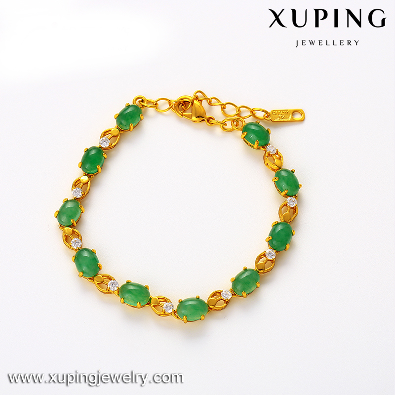 xuping high quality oval shape Malay jade gold plated bead bracelet for women