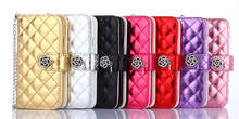 Rhombus Design Women Wristlet Handbag with card slot Leather Wallet Flip Case For iPhone 5G 6 6s