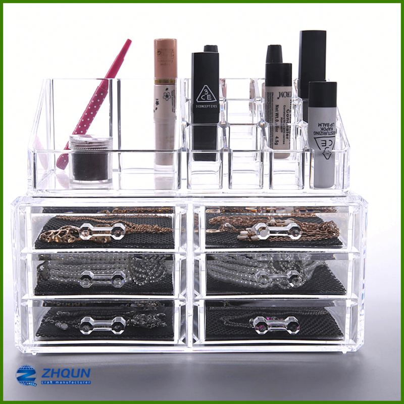 <strong>Retail</strong> desk top 6 drawers clear acrylic makeup storage box