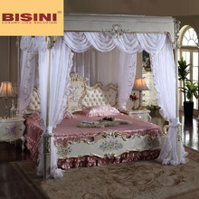 Italian Royal Bedroom Furniture, Luxury Upholstered Canopy Bed