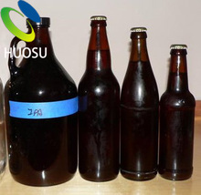 raw material wholesale matte black 330ml 750ml amber beer glossy glass bottles with crown cap