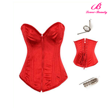 Red steel boned zip up half cup corset sexu bustier