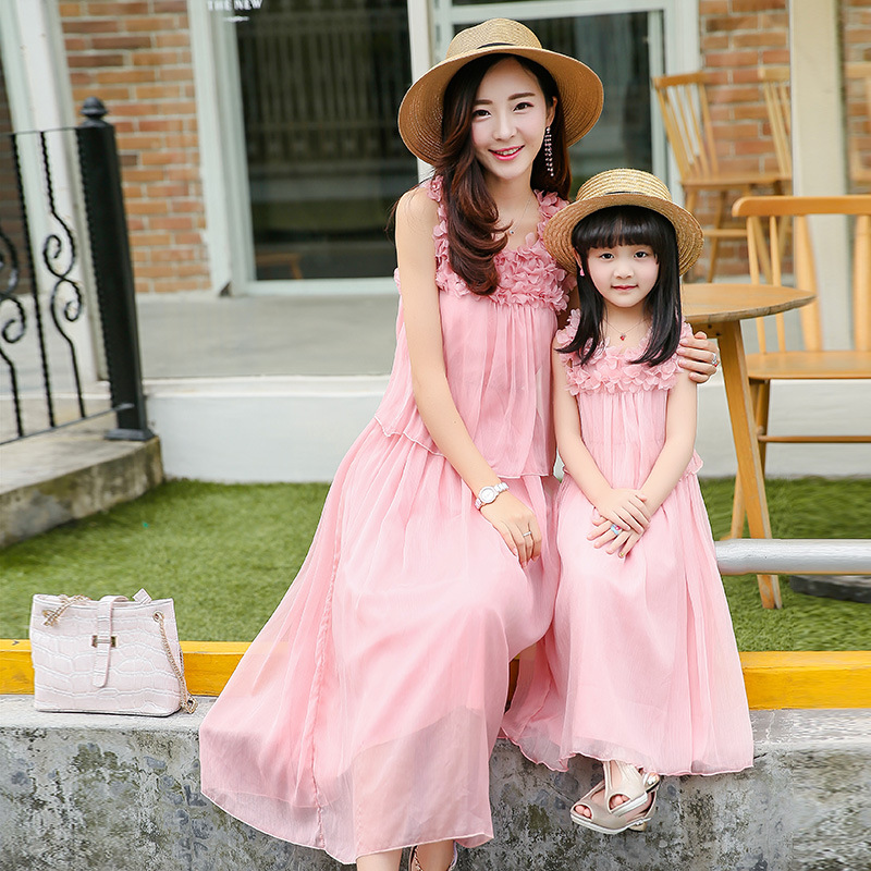 2017 Mother Daughter Matching Evening Dress chiffon Women off shoulder Prom Party Gown New wedding dress