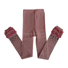 GS fancy black small dots design picot leg opening light pink knitted girls legging