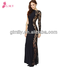 2017 elegant ladies long sleeve black lace overlay evening prom dresses patterns