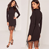 Fashion EUROPE style plain dyed sexy slim long sleeve knit women dress