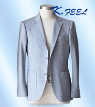 2017 Fashion Light Grey Knitted Cotton Casual Blazer for Men