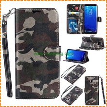 New arrival camouflage double fold Wallet Flip Leather Hand Strap case For Samsung Galaxy S8