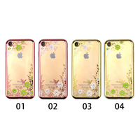 Embossed Printing Flowers Clear TPU Diamond phone case for iPhone