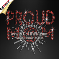 Proud Mom Volleyball Rhinestone Iron on Transfers for T shirt
