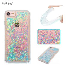 3D Cute Bling Liquid Glitter Floating Quicksand Diamond Water Flowing Ultra Clear Soft TPU Phone Case for Apple iPhone 7