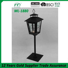 Black metal Lantern with stand and glass panels home decoration ML-1880