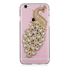 3d Handmade Clear Bling Peacock Crystal Rhinestone Diamond Skin Case Cover for iPhone 6