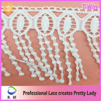 2016 heavy cotton tassel lace fabric 3d tassel fringe for curtains