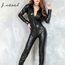 Hot women sexy costume leather catsuit black