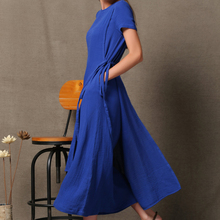 Clothes Women Ladies Simple Fashion one Piece Long Linen Dress in blue color
