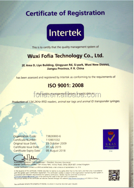ИКАР сертифицирована 134.2 КГц FDX-B RFID скота ухо теги ISO11784/5