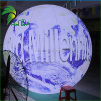 inflatable world print inflatable light decor hang globe balloon for advertising