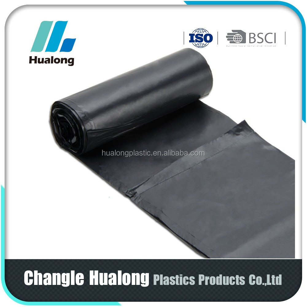 custom made black garbage plastic trash bag in roll