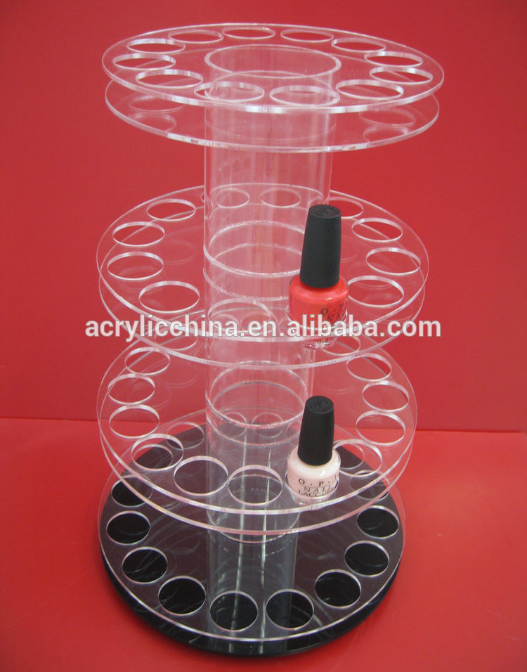 Rotating acrylic nail polish rack display,spinning lucite acrylic makeup nail polish rack