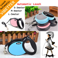 LED Light Retractable Dog Leash with Waste Bag Dispenser