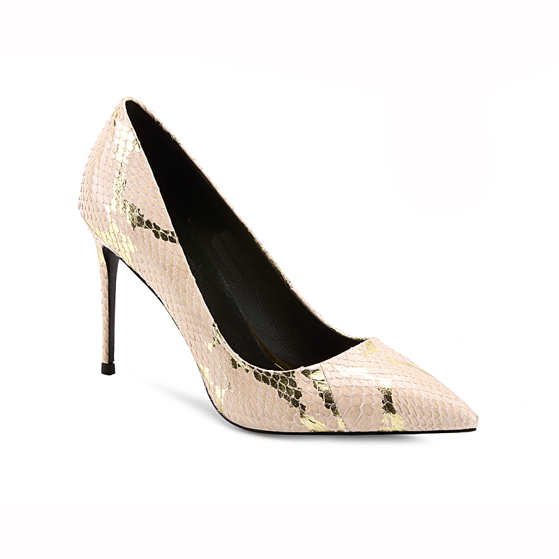 Sexy pointed toe multi color snakeskin printing ladies party high <strong>heels</strong>