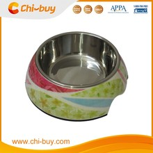 "Chi-buy Mix Flower Detachable Dual Melamine Pet Bowl antiskid Stainless steel Dog food water Bowl, L Size:6.50""LX8.66""WX2.87""H"