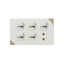 Best selling home decoration 5 gang 1 way electrical wall light switch with 2 pin hole socket