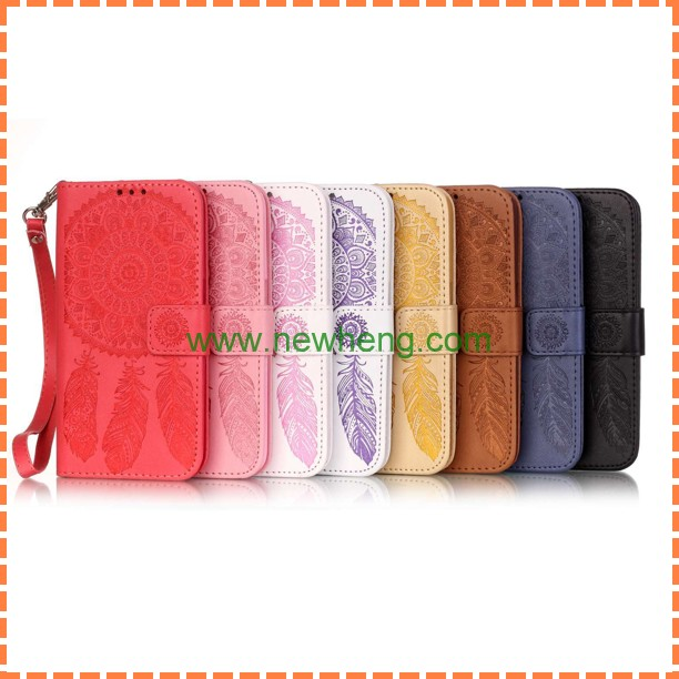 Vintage Emboss Flower Flip Wallet Leather Magnetic Cases Cover for iPhone 6,PU Leather Wallet Case with Detachable Wrist Strap