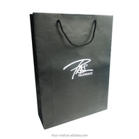 Cusomtized printing logo paper shopping bag black
