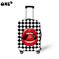 ONE2 design strawberry mouth pattern folding travel ladies fancy luggage cover
