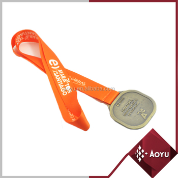 Heavy duty orange heat transfer printing lanyard with metal