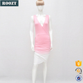 New arrival fashion sleeveless Deep-V Pink Graduate Color Lady short Dresses
