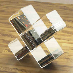fancy fan-shaped clear acrylic tabletop lp display dvd cd rack