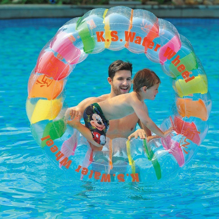 Plastic mini inflatable water roller wheel