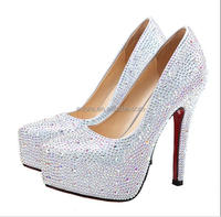 Hot selling Full Rhinestone Platfrom Bridal Round Shoes Red bottom Stiletto High Heel Crystal Wedding shoes for women