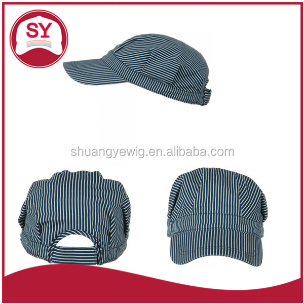 Blue White Dark Striped Train Conductor's Cap and hat with adjustable strap