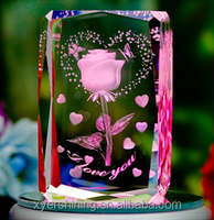 2015 3D Laser Engraved Rose Crystal Souvenirs Gifts