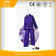 Extra large transparent soft wearing clear plastic PVC rain suit with pants